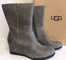 ugg australia s emalie waterproof wedge boot 7us stout brown ugg australia solid zip wedge boots for ebay