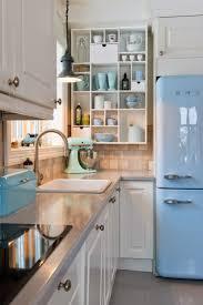 vintage kitchen tile backsplash kitchen sky blue minimalist kitchen with glossy sky blue fridge