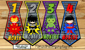 tie monthly stickers superhero baby boy month stickers infant