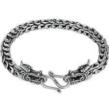 dragon bracelet silver images Double dragon head solid silver bracelet ring to perfection jpg