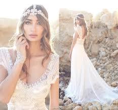 2016 new romantic bohemian lace wedding dresses 2015 beaded top