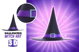 halloween witch hat 3d render illustrations creative market