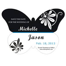 Save The Date Photo Magnets Stylish Black And White Spring Butterfly Shape Save The Date