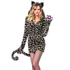 Size Cat Halloween Costumes Cozy Leopard Fleece Dress Tail Ear Hoodie