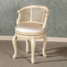 round bedroom vanity chair with white wooden material and curvy