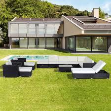 outsunny 14pc outdoor rattan wicker sofa set patio furniture deep