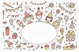Doodle Birthday Card Happy Birthday Card Template Hand Drawn Doodle Birthday Party