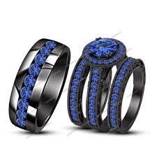 black bridal sets 14k black gold men women his sapphire wedding band ring trio