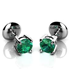 emerald earrings uk may birthstone green columbian emerald stud earrings