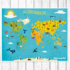 Children S Map Of The World by Kids World Map Personalized Baby Map Nursery World Map