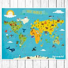 Personalized World Travel Map by Kids World Map Personalized Baby Map Nursery World Map