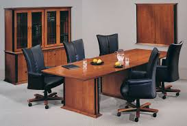 Office Conference Room Chairs Furniture Rectangle Brown Wooden Conference Table And Five Black