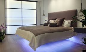 Stylish Bed Frames Floating Bed Frame And Wall Mounted Nightstand Also Blue Led
