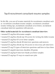Consulting Resumes Examples Top8recruitmentconsultantresumesamples 150426010743 Conversion Gate02 Thumbnail 4 Jpg Cb U003d1430028510
