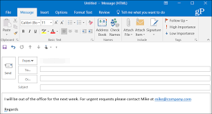 create out of office replies in outlook 2016 for pop or imap accounts