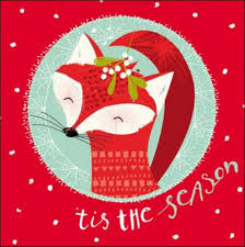 pack of 5 fox children with cancer charity christmas cards cards