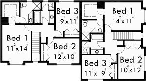 Corner House Floor Plans Corner Lot Duplex House Plans 3 Bedroom Duplex House Plans D 505