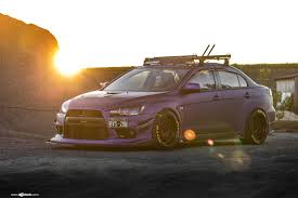 mitsubishi purple purple matte lancer evolution with black avant garde rims u2014 carid