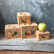 wooden kitchen canisters rooster wooden kitchen canisters vintage four set of
