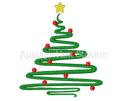 christmas tree abstract contemporary machine embroidery design