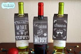 christmas holiday chalkboard style wine bottle gift tags