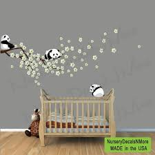 stickers panda chambre bébé panda cherry tree decals pink cherry blossoms branch