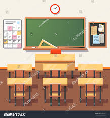 Student Chairs With Desk by Empty School Classroom Green Chalkboard Teachers Stock Vector