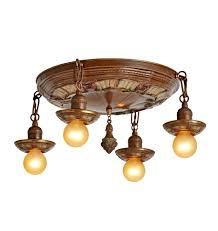 four light bare bulb fixture w original polychrome rejuvenation