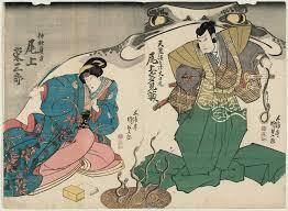 utagawa kunisada actors onoe tamizo as tenjiku tokubei and onoe