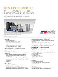 diesel generator set mtu 18v2000 ds1400 prime power