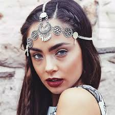 chain headpiece vintage design bohemia ethnic flower silver color chain