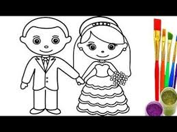 draw bride groom coloring pages videos