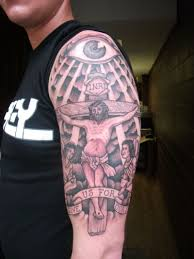 half sleeve jesus cross tattoo design tattoos book 65 000