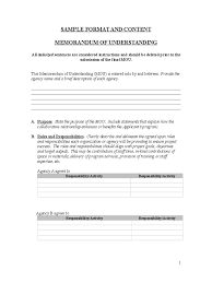 Letter Of Contribution Sample Memorandum Of Understanding 6 Free Templates In Pdf Word Excel