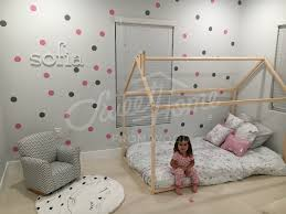 pink and grey polka dots mural modern girls room ideas toddler