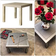 small diy square wooden coffee table painted with silver color