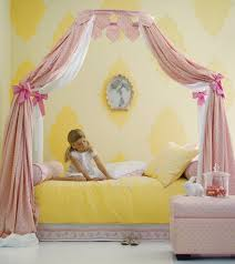 Pink And Yellow Bedding Furniture Rectangle Canopy Bed With White Pink Curtains Having