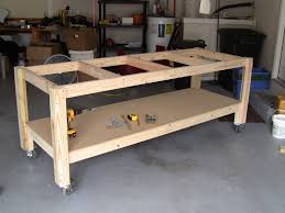 49 Free Diy Workbench Plans U0026 Ideas To Kickstart Your Woodworking by I Like The Casters On This One Mobile Is Good Garage Shop