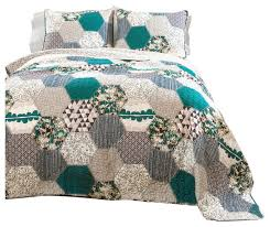 turquoise quilted coverlet lush decor briley quilt turquoise 3 piece set reviews houzz