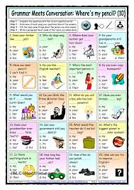 Personal And Possessive Pronouns Worksheet Grammar Meets Conversation 10 Possessive Adjectives 10