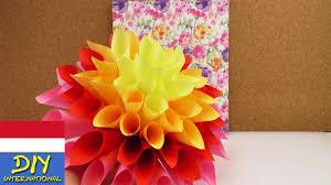 membuat hiasan bunga dari kertas lipat bunga dahlia dari kertas deko musim semi diy youtube