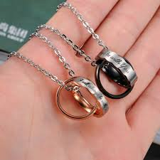 anime ring necklace images 2016 real rushed anime collares luala stainless steel couple jpg