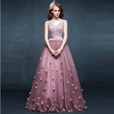 deep v neck lace purple elegant prom dress tulle handmade flower