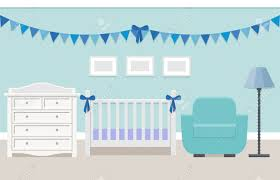 Blue Changing Table Baby Room Interior With White Cot And Changing Table For Boy