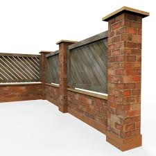 garden wall modular garden wall 3d asset enclosure cgtrader
