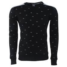 fish sweater one jumper s pullover neck fish print black