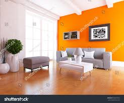 orange room sofa living room interior stock illustration 500051530