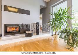 minimalist fireplace modern minimalist fireplace villa interior potted stock photo
