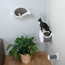 wall mounted cat stairs amazon com trixie pet products wall mounted cat lounging set