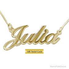 name tag necklace 14 karat gold name necklace choose from yellow white and gold